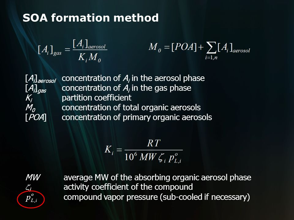 SOA formation method What happens to the chemical species in the SOA phase.