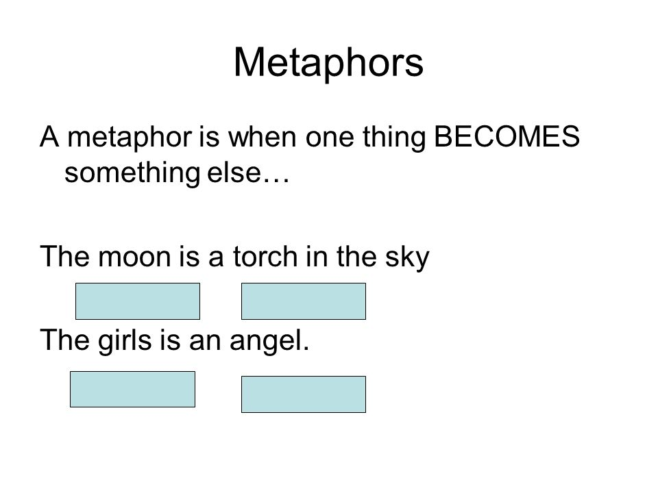 Metaphors A metaphor is when one thing BECOMES something else… The moon is a torch in the sky The girls is an angel.
