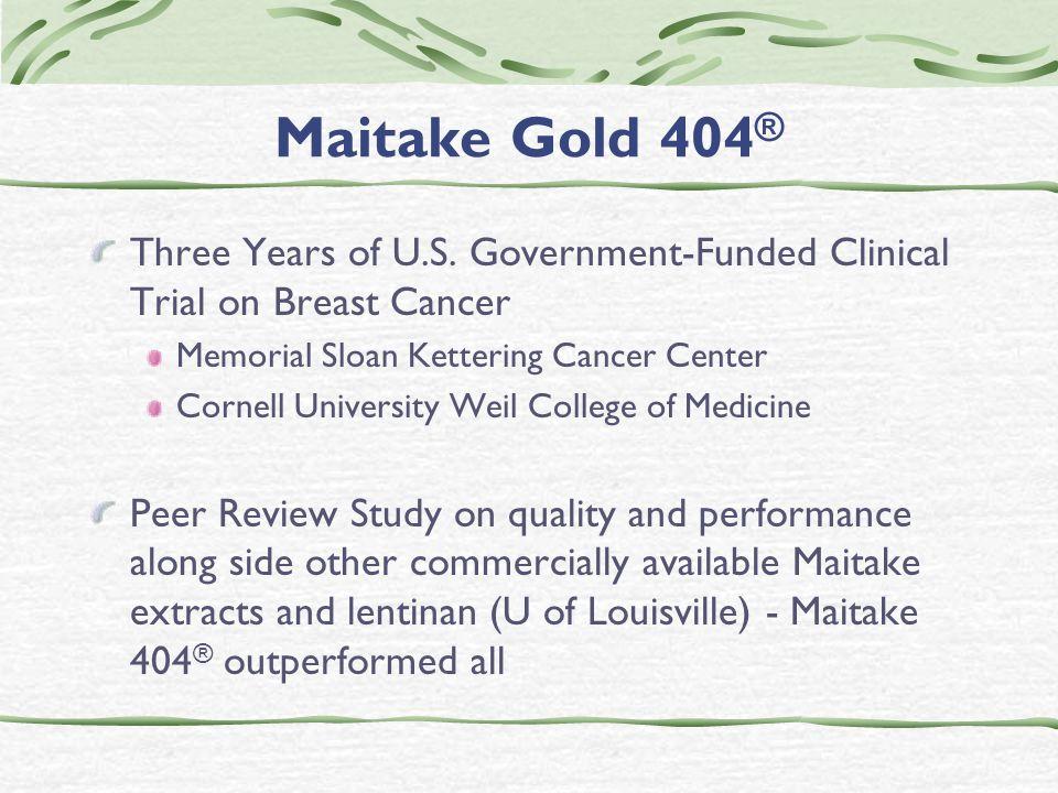 Maitake Gold 404 ® Three Years of U.S.