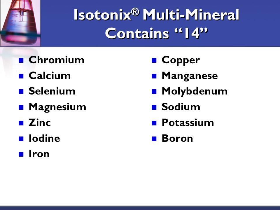Isotonix ® Multi-Mineral Contains 14 Chromium Calcium Selenium Magnesium Zinc Iodine Iron Copper Manganese Molybdenum Sodium Potassium Boron