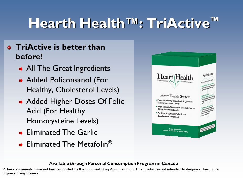 Hearth Health™: TriActive ™ TriActive is better than before! All The Great Ingredients Added Policonsanol (For Healthy, Cholesterol Levels) Added High