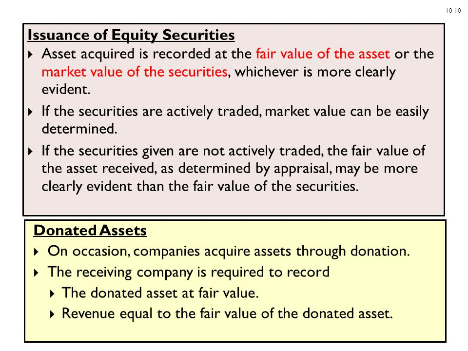 10-10 Issuance of Equity Securities  Asset acquired is recorded at the fair value of the asset or the market value of the securities, whichever is mo