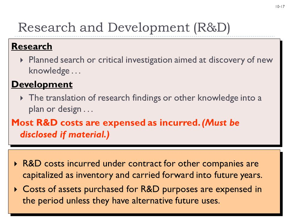 10-17 Research and Development (R&D) Research  Planned search or critical investigation aimed at discovery of new knowledge... Development  The tran