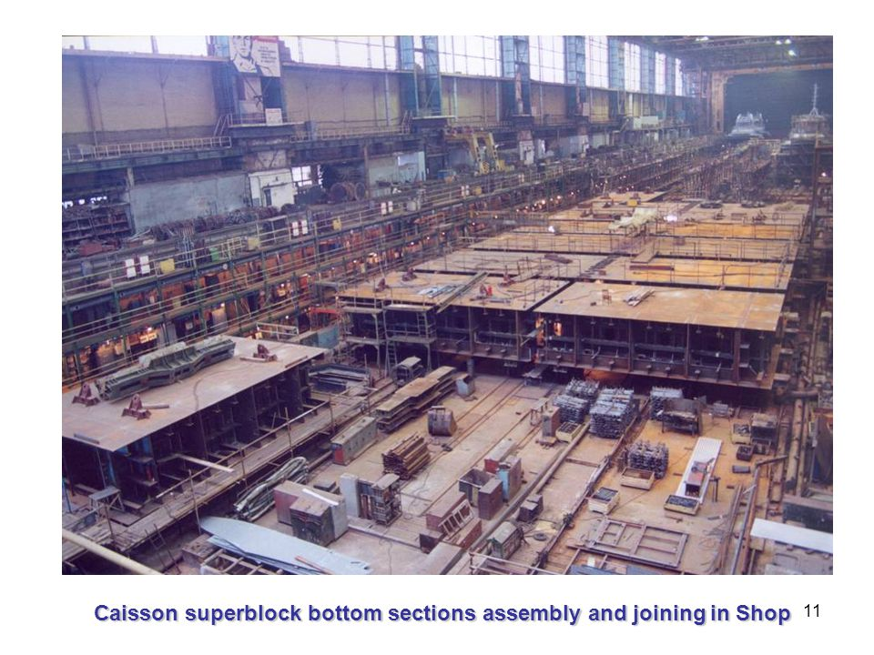 11 Caisson superblock bottom sections assembly and joining in Shop