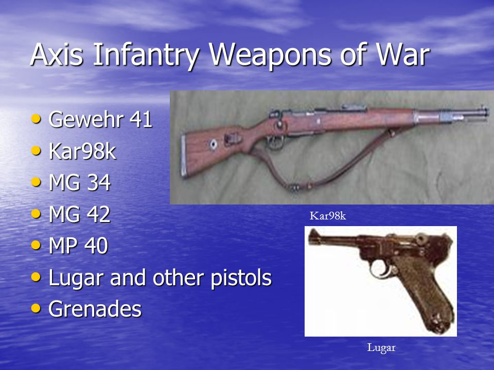 Axis Infantry Weapons of War Gewehr 41 Gewehr 41 Kar98k Kar98k MG 34 MG 34 MG 42 MG 42 MP 40 MP 40 Lugar and other pistols Lugar and other pistols Gre