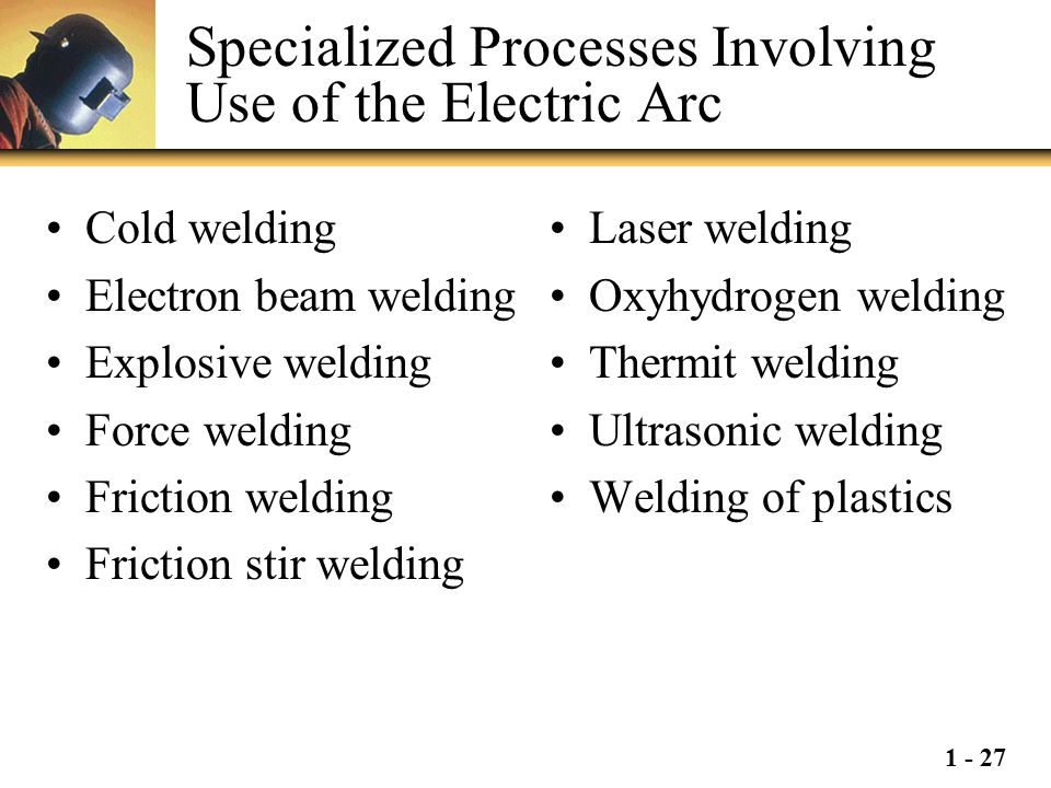 1 - 27 Specialized Processes Involving Use of the Electric Arc Cold welding Electron beam welding Explosive welding Force welding Friction welding Fri