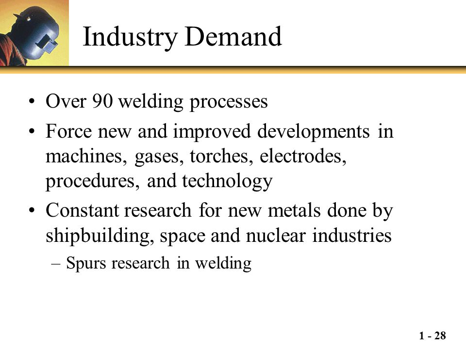 1 - 28 Industry Demand Over 90 welding processes Force new and improved developments in machines, gases, torches, electrodes, procedures, and technolo
