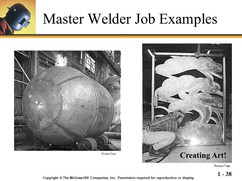 1 - 38 Master Welder Job Examples Welds in these tanks must meet X-ray requirements and pass a dye penetrant test. Tanks are often lined with a very t