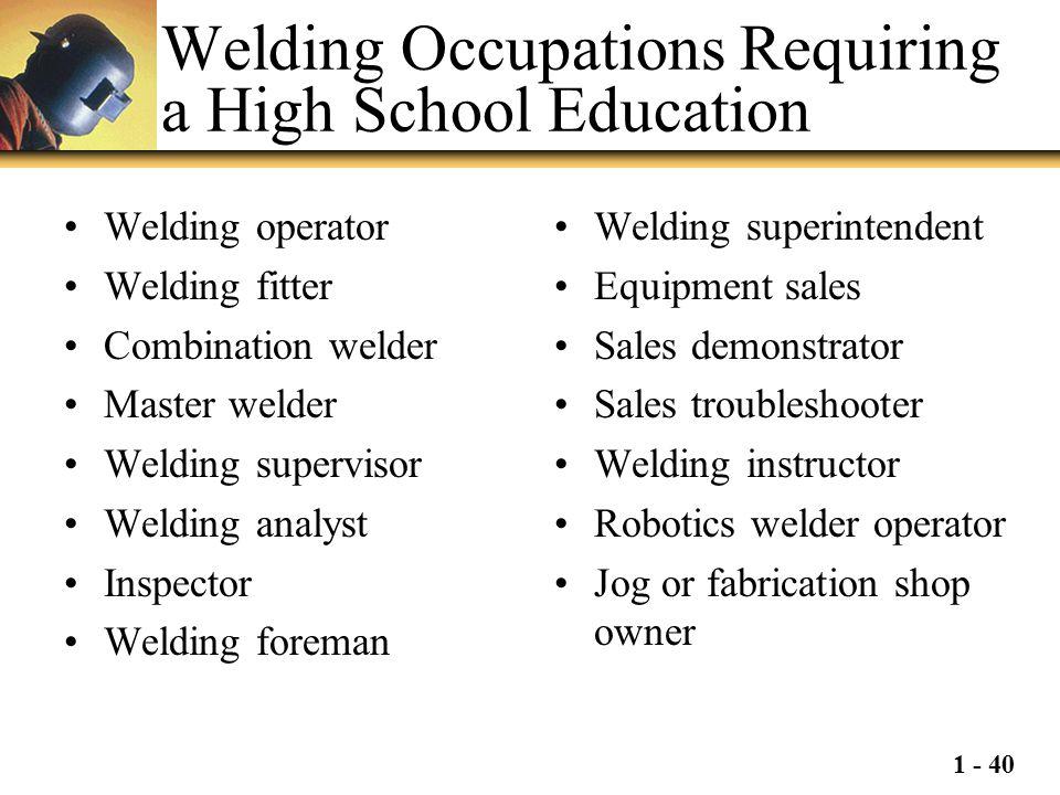 1 - 40 Welding Occupations Requiring a High School Education Welding operator Welding fitter Combination welder Master welder Welding supervisor Weldi