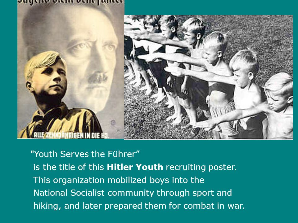 Youth Serves the Führer is the title of this Hitler Youth recruiting poster.