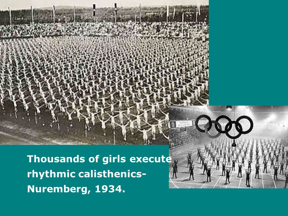 Thousands of girls execute rhythmic calisthenics- Nuremberg, 1934.