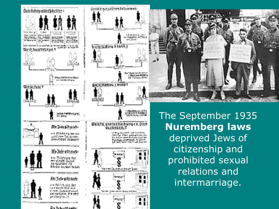The September 1935 Nuremberg laws deprived Jews of citizenship and prohibited sexual relations and intermarriage.