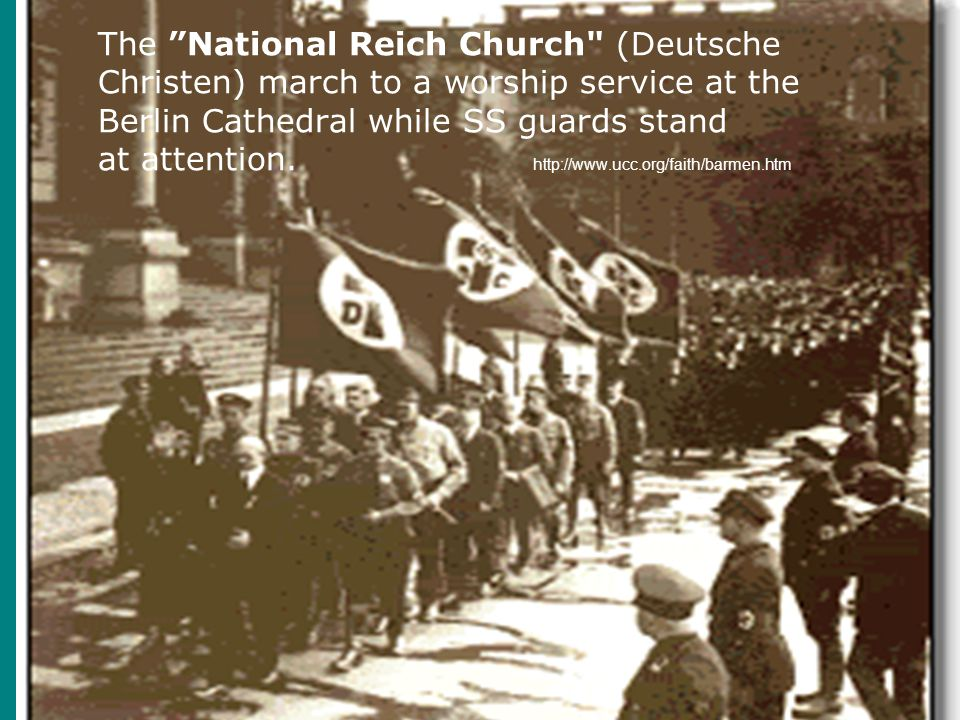 The National Reich Church (Deutsche Christen) march to a worship service at the Berlin Cathedral while SS guards stand at attention.