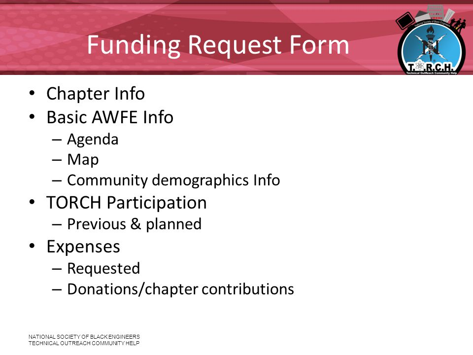 NATIONAL SOCIETY OF BLACK ENGINEERS TECHNICAL OUTREACH COMMUNITY HELP Funding Request Form Chapter Info Basic AWFE Info – Agenda – Map – Community dem