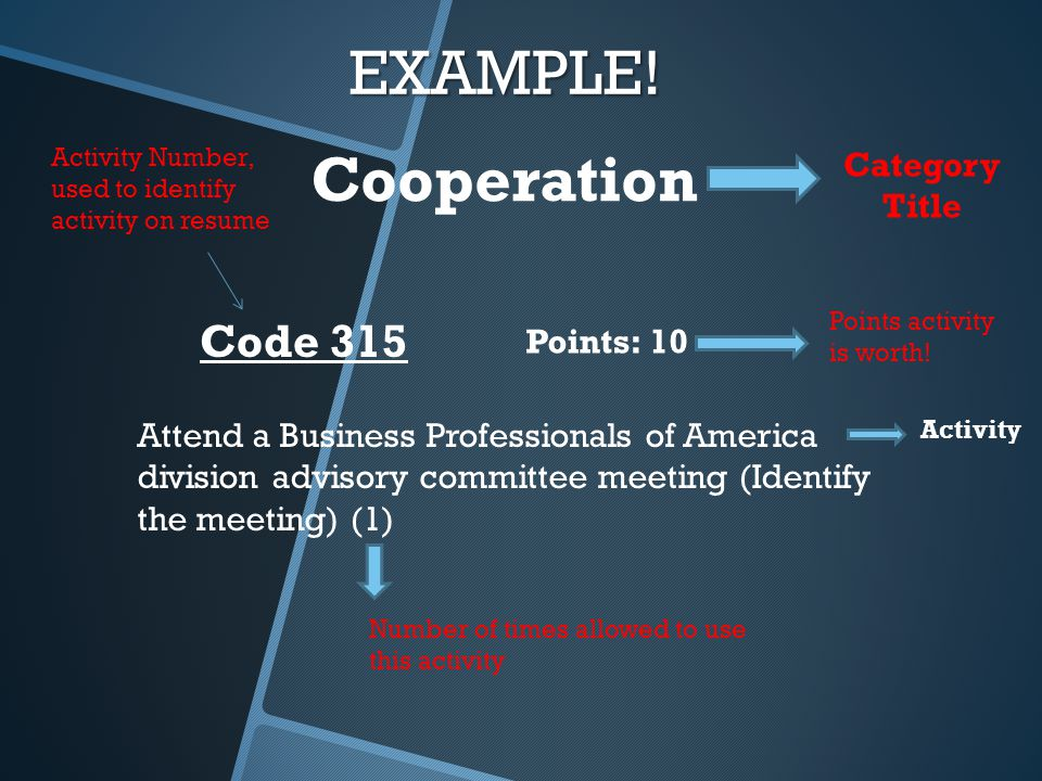 EXAMPLE! Attend a Business Professionals of America division advisory committee meeting (Identify the meeting) (1) Code 315 Points: 10 Cooperation Cat