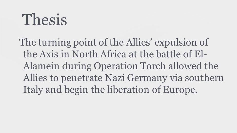 Importance ● Operation Torch o Contained German expansion to Europe o Blocked off shipping lanes in the Mediterranean o Gave Allies a point to launch into Italy o Capture of Italy was crucial for Britain and the US because it gave them a foothold for the future liberalization of Europe o Encouraged Franco-Germans to gradually remove themselves from the Axis side and side with Allies o Also served as practice for when they would invade Italy and France; higher chance of success (after integrating national armies and generals together)