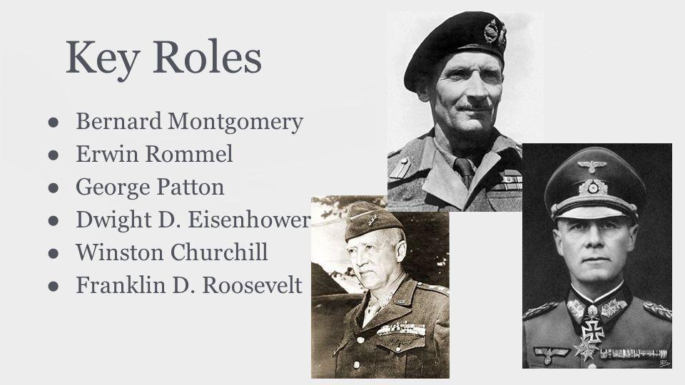 Key Roles ● Bernard Montgomery ● Erwin Rommel ● George Patton ● Dwight D. Eisenhower ● Winston Churchill ● Franklin D. Roosevelt