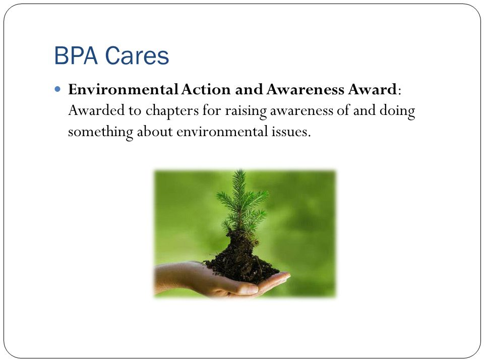 BPA Cares Environmental Action and Awareness Award: Awarded to chapters for raising awareness of and doing something about environmental issues.