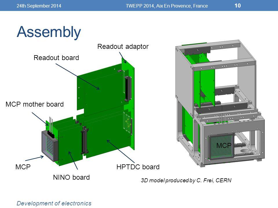 Assembly 24th September 2014TWEPP 2014, Aix En Provence, France 10 MCP MCP mother board NINO board HPTDC board Readout board Readout adaptor Development of electronics 3D model produced by C.