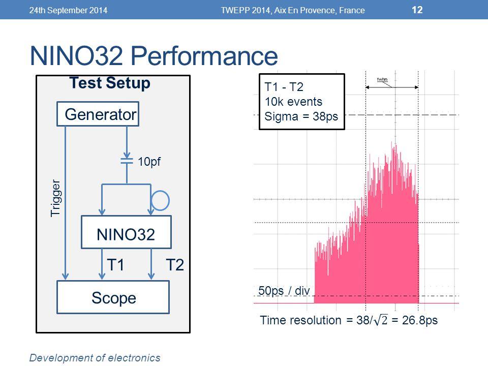 NINO32 Performance Generator NINO32 Scope Trigger Test Setup 50ps / div T1 - T2 10k events Sigma = 38ps T1 T2 24th September 2014TWEPP 2014, Aix En Provence, France 12 Development of electronics 10pf