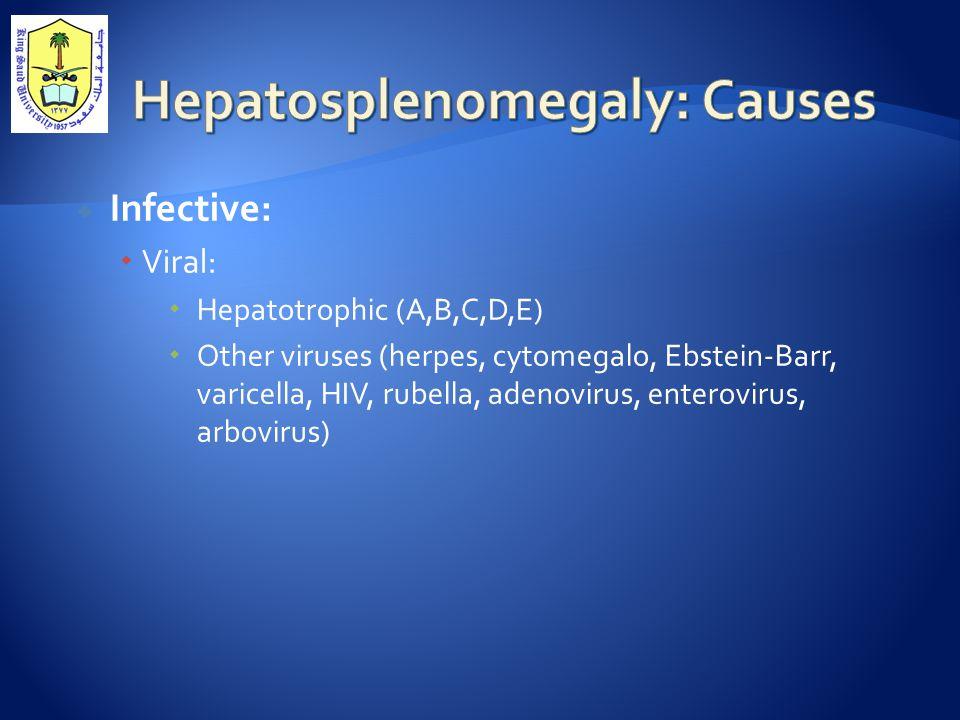  Infective:  Viral:  Hepatotrophic (A,B,C,D,E)  Other viruses (herpes, cytomegalo, Ebstein-Barr, varicella, HIV, rubella, adenovirus, enterovirus, arbovirus)