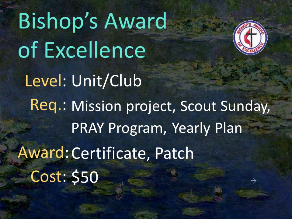 Bishop's Award of Excellence Unit/Club Mission project, Scout Sunday, PRAY Program, Yearly Plan Certificate, Patch $50 → Level: Req.: Award: Cost: