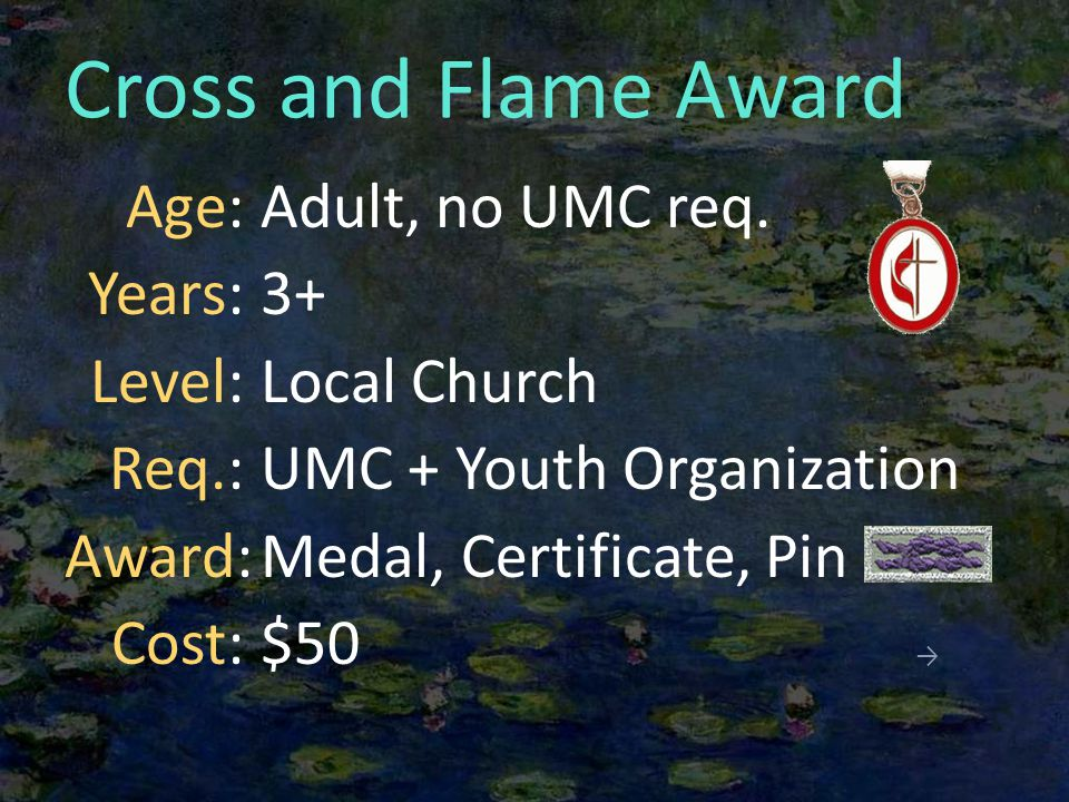 Cross and Flame Award Adult, no UMC req.