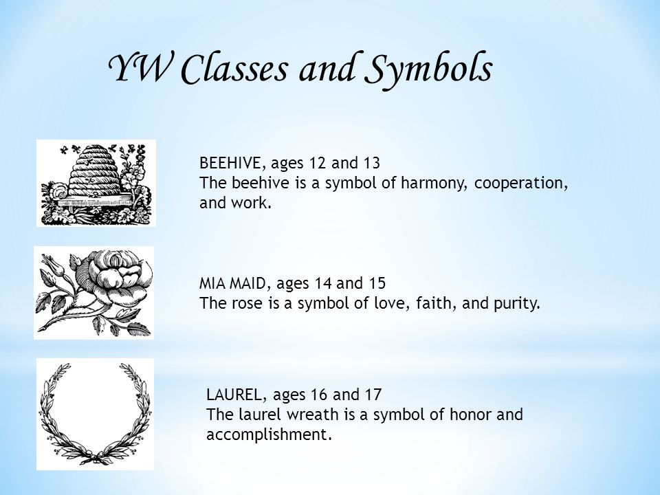 YW Classes and Symbols BEEHIVE, ages 12 and 13 The beehive is a symbol of harmony, cooperation, and work.