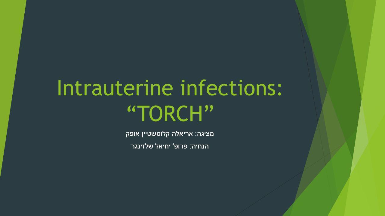 "Intrauterine infections: ""TORCH"" מציגה : אריאלה קלוטשטיין אופק הנחיה : פרופ ' יחיאל שלזינגר"