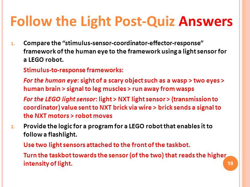 "18 1. Compare the ""stimulus-sensor-coordinator-effector-response"" framework of the human eye to the framework using a light sensor for a LEGO robot. S"