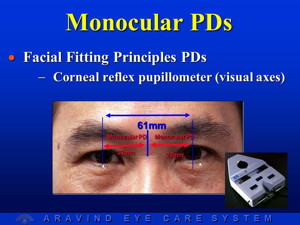 A R A V I N D E Y E C A R E S Y S T E M Monocular PD 29mm 32mm 61mm Monocular PDs  Facial Fitting Principles PDs  Corneal reflex pupillometer (visual axes)