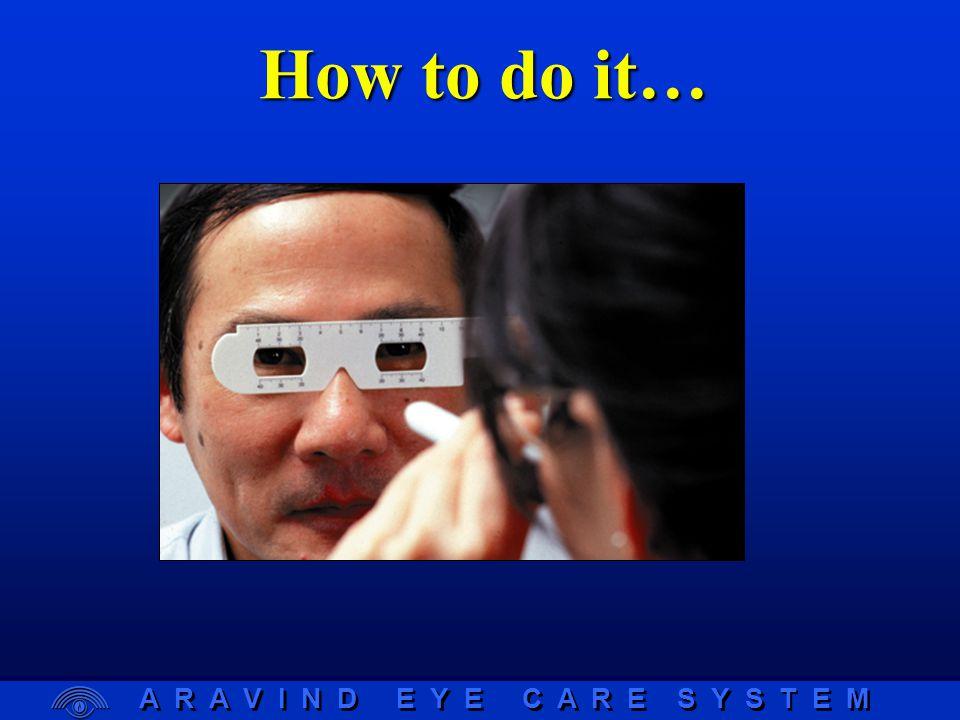 A R A V I N D E Y E C A R E S Y S T E M RELE Centre of nose bridge to centre of cornea Spectacle Plane Subject Examiner LERE 40c m Binocular Near CDs