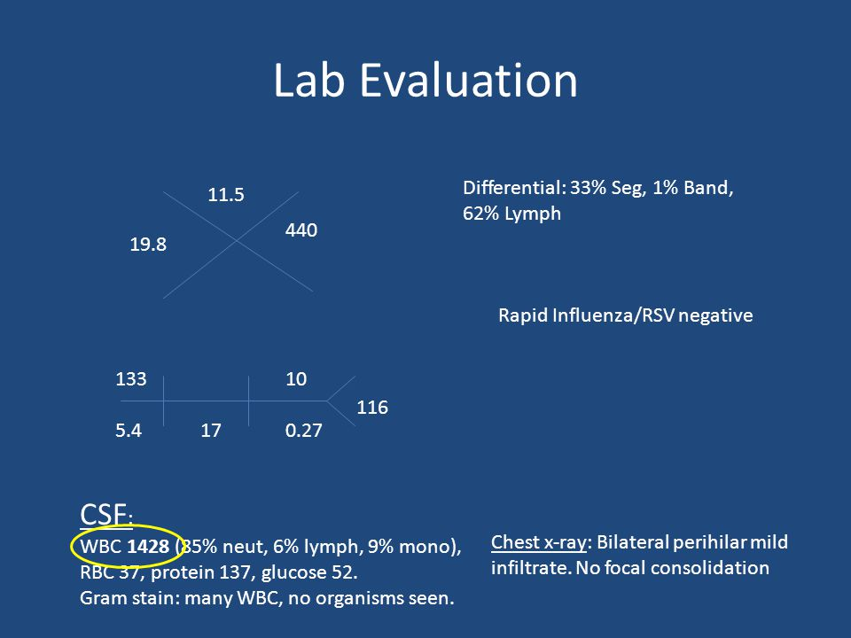 Lab Evaluation 19.8 11.5 440 13310 5.4170.27 Differential: 33% Seg, 1% Band, 62% Lymph 116 CSF : WBC 1428 (85% neut, 6% lymph, 9% mono), RBC 37, protein 137, glucose 52.