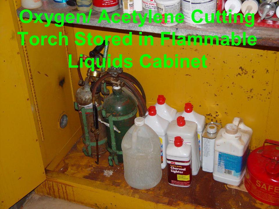 Oxygen/ Acetylene Cutting Torch Stored on Unsafe Cart