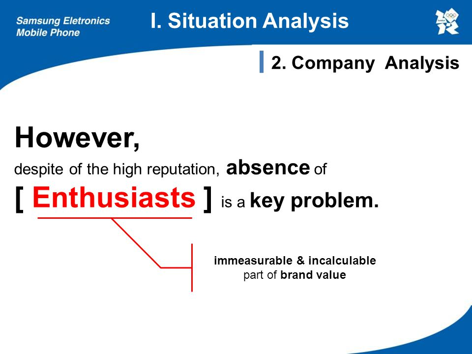 I. Situation Analysis However, despite of the high reputation, absence of [ Enthusiasts ] is a key problem. immeasurable & incalculable part of brand