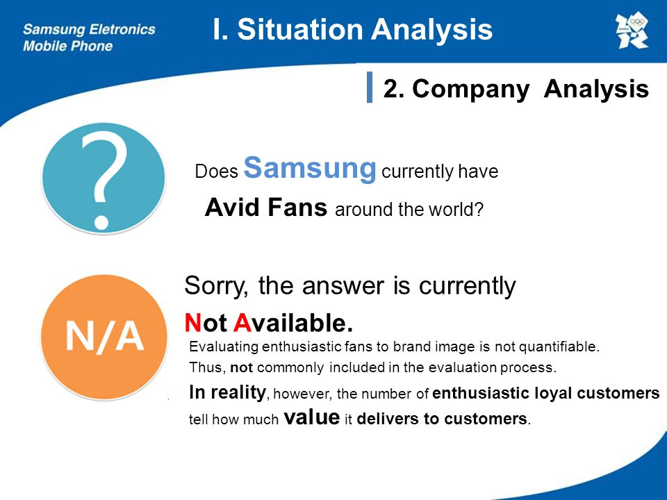 Does Samsung currently have Avid Fans around the world? Sorry, the answer is currently Not Available. I. Situation Analysis 2. Company Analysis Evalua