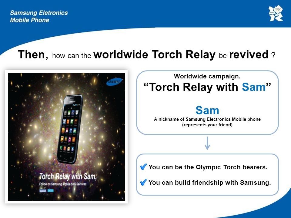 IV. IMC Strategy 1. Hi, Sam! 2. Torch Relay with Sam 3. Other IMCs