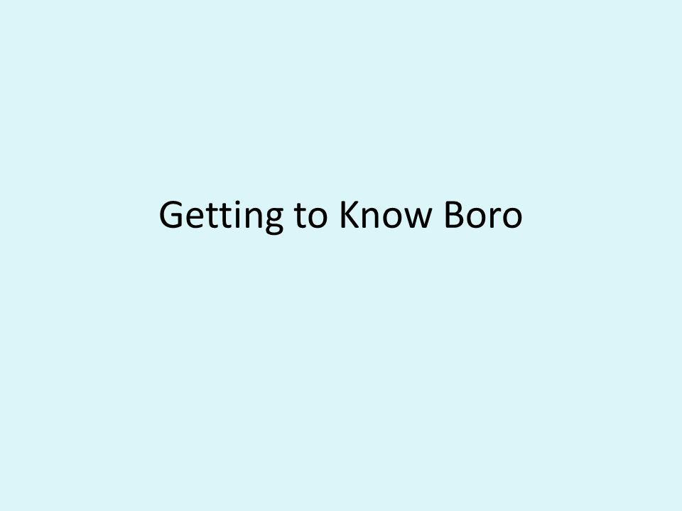 Getting to Know Boro