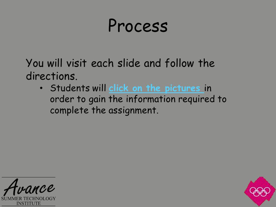 Process You will visit each slide and follow the directions.