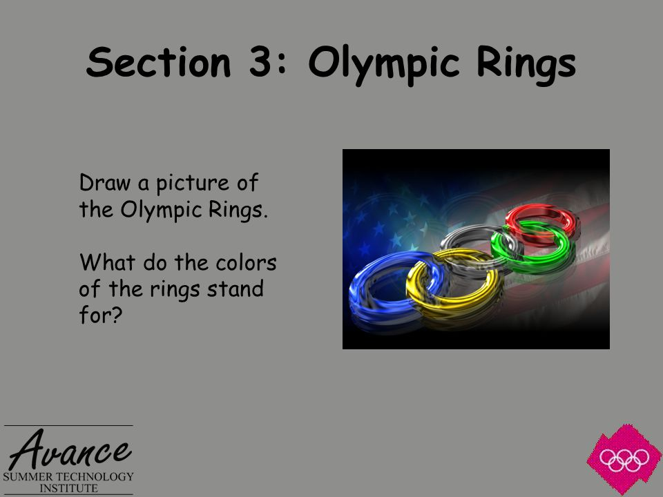 Section 3: Olympic Rings Draw a picture of the Olympic Rings.