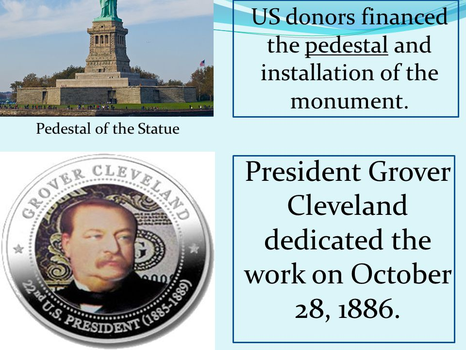 Pedestal of the Statue President Grover Cleveland dedicated the work on October 28, 1886.