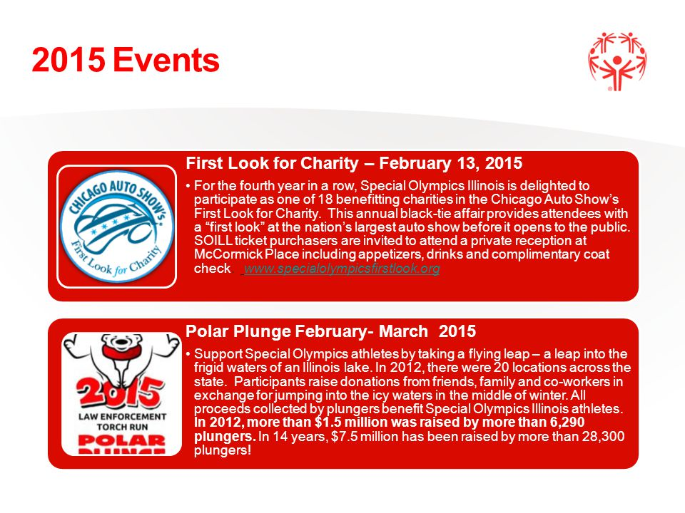 First Look for Charity – February 13, 2015 For the fourth year in a row, Special Olympics Illinois is delighted to participate as one of 18 benefitting charities in the Chicago Auto Show's First Look for Charity.