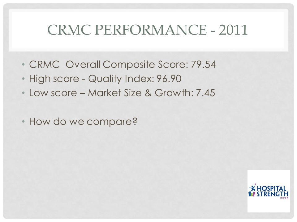 CRMC PERFORMANCE - 2011 CRMC Overall Composite Score: 79.54 High score - Quality Index: 96.90 Low score – Market Size & Growth: 7.45 How do we compare