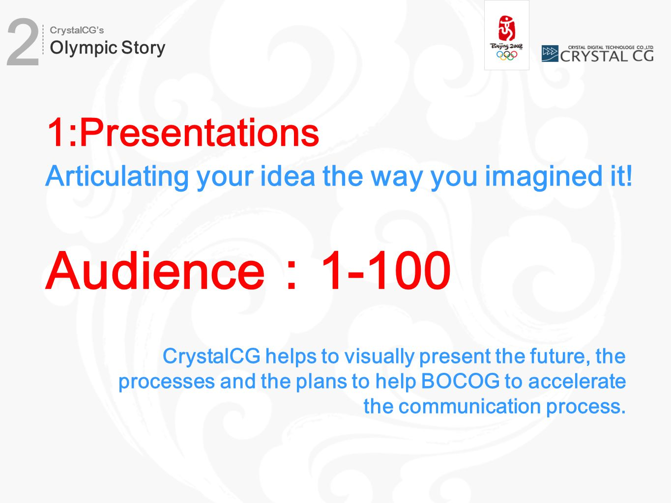 1:Presentations Articulating your idea the way you imagined it.