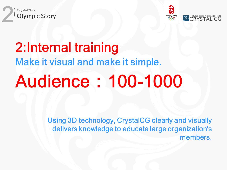 2:Internal training Make it visual and make it simple.