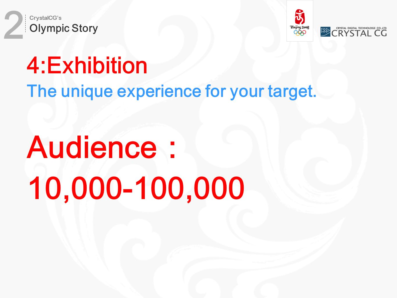 4:Exhibition The unique experience for your target. Audience: 10,000-100,000 2