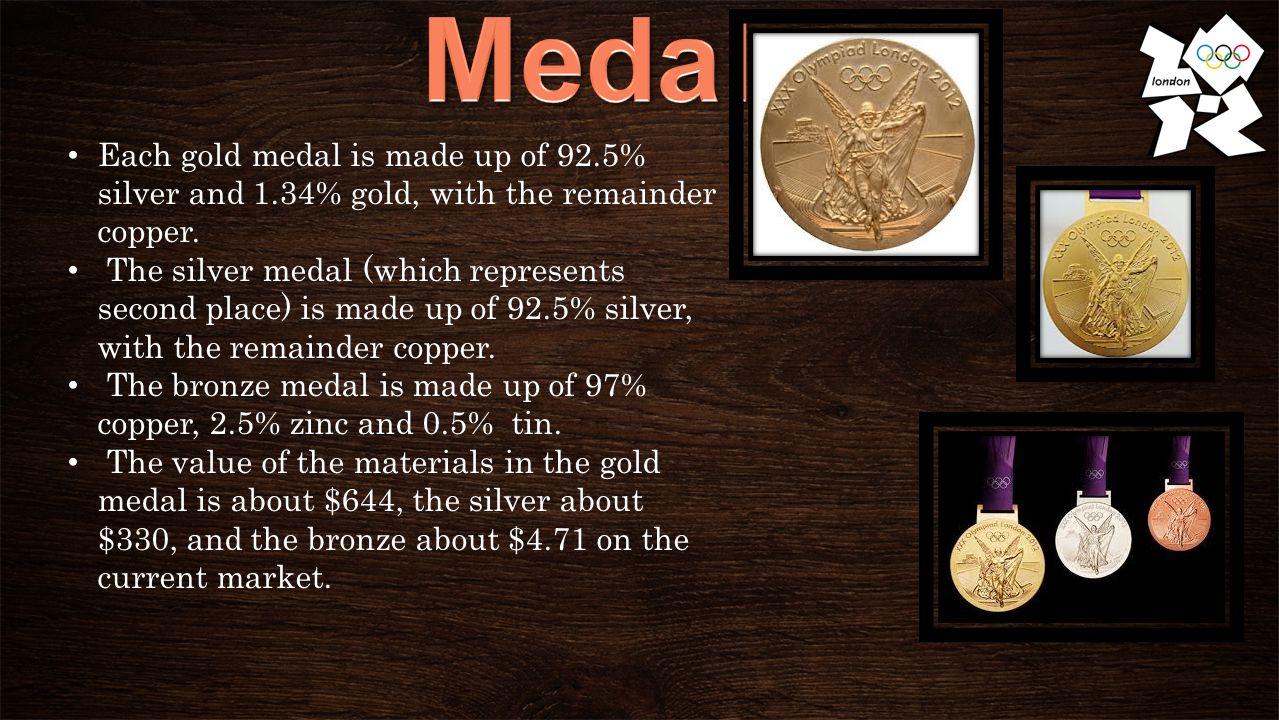 Each gold medal is made up of 92.5% silver and 1.34% gold, with the remainder copper.