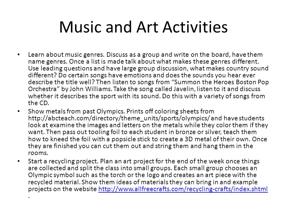 Music and Art Activities Learn about music genres.