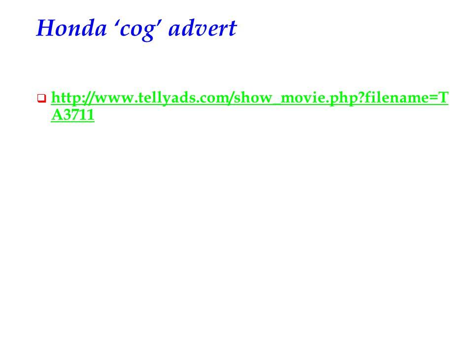 Honda 'cog' advert  http://www.tellyads.com/show_movie.php?filename=T A3711 http://www.tellyads.com/show_movie.php?filename=T A3711
