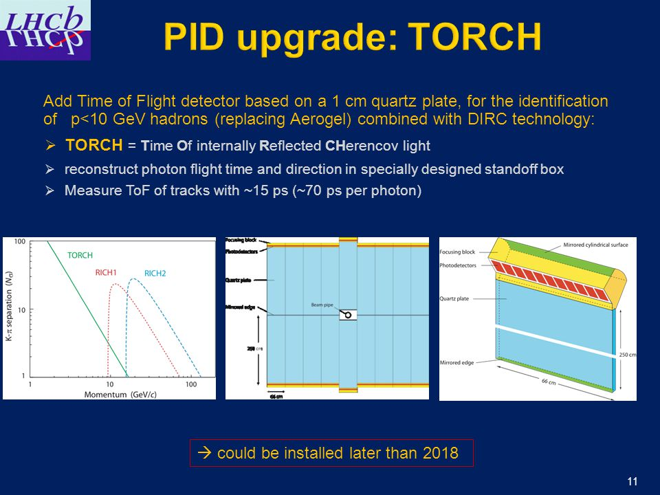 11 Add Time of Flight detector based on a 1 cm quartz plate, for the identification of p<10 GeV hadrons (replacing Aerogel) combined with DIRC technology:  TORCH = Time Of internally Reflected CHerencov light  reconstruct photon flight time and direction in specially designed standoff box  Measure ToF of tracks with ~15 ps (~70 ps per photon)  could be installed later than 2018